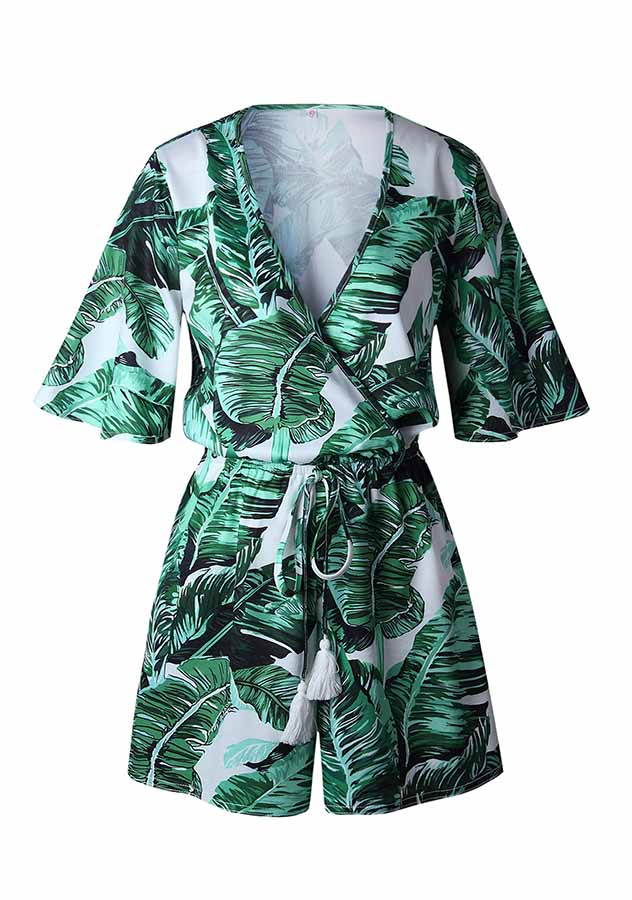 Deep V Neck Green Leaves Sexy Holiday Romper | Edlpe