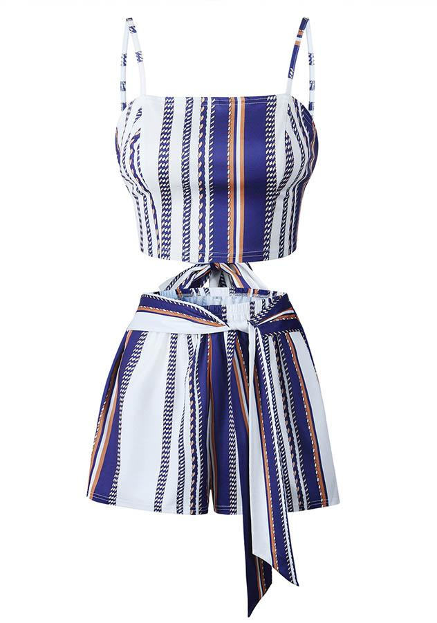 Trendy Two Pieces Blue Stripe Sling Backless Sets | Edlpe