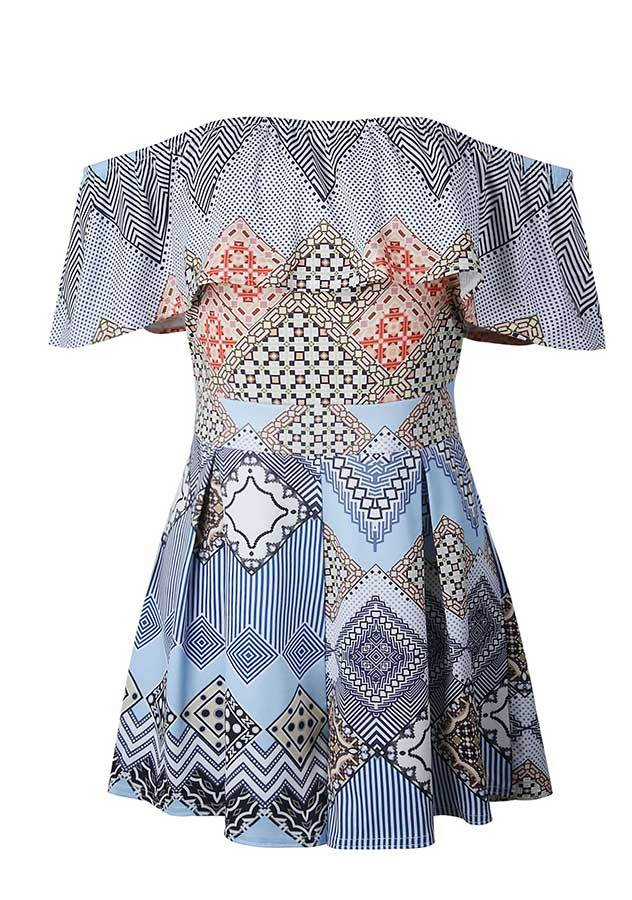Blue Off Shoulder Geometric Print Ruffle Romper | Edlpe