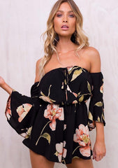 Women Off Shoulder Floral Lace Up Romper | Edlpe