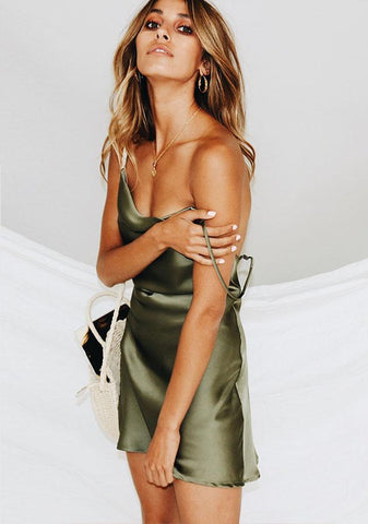 Sexy Sling Backless Satin Sleeping Dress Night Out Party Dress | Edlpe