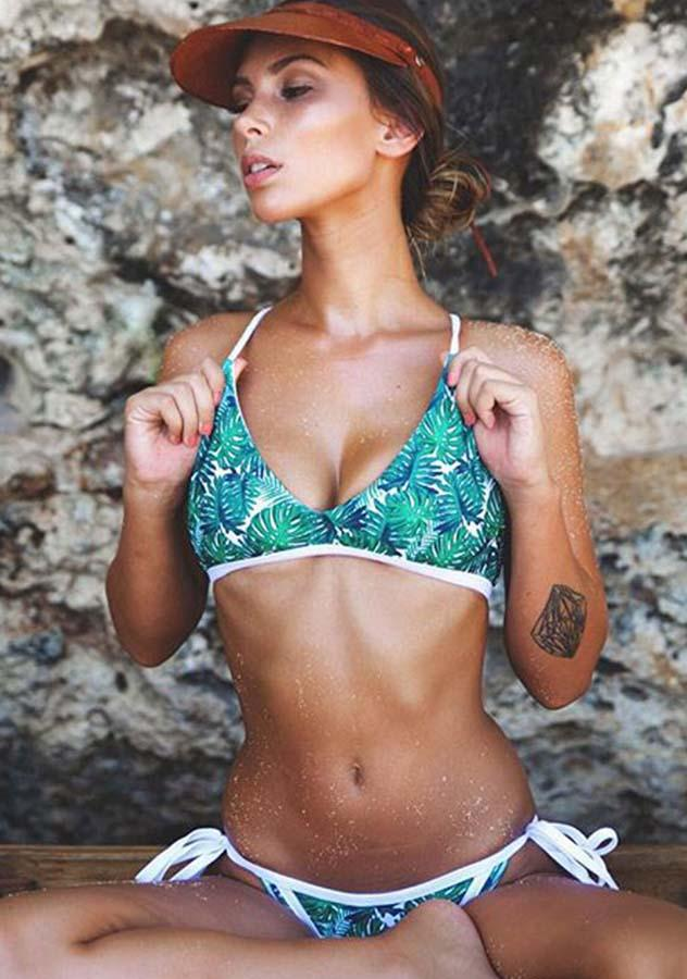 Two Pieces Lace Up Leaves Print Bikini Set | Edlpe