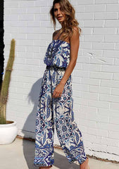 Off Shoulder Bandeau Floral Resort Jumpsuit
