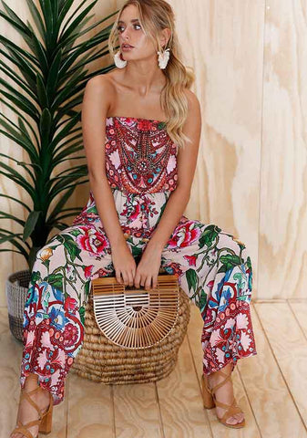 Off Shoulder Bandeau Floral Resort Jumpsuit | Edlpe