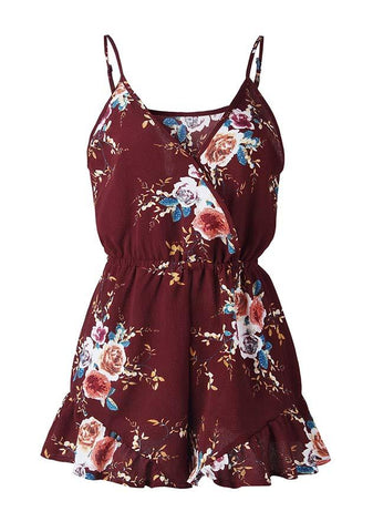 Summer Floral Crossover Resort Romper | Edlpe