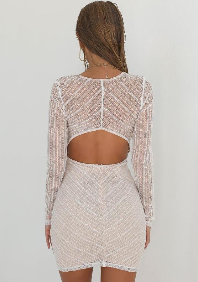 Sexy V Neck Lace Long Sleeves Bodycon Dress | Edlpe