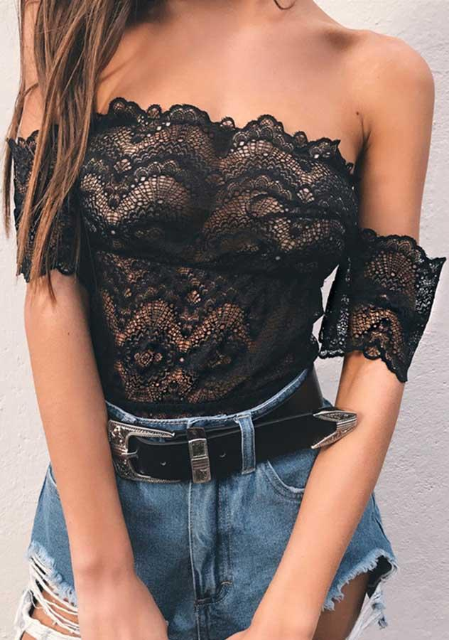 Black Lace Off Shoulder Jumpsuits Sexy Lingerie | Edlpe