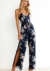 Dark Blue Strappy Backless Floral Side Slit Jumpsuit | Edlpe