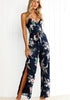 Image of Dark Blue Strappy Backless Floral Side Slit Jumpsuit | Edlpe