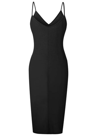 Sexy Sling High-Low Button Bodycon Dress | Edlpe