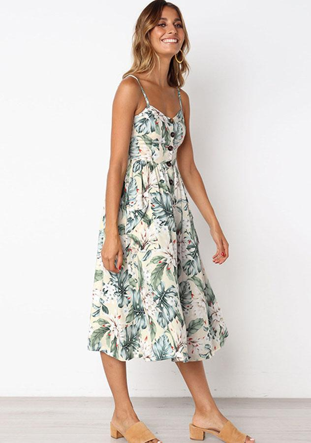 Fashion Floral Sling Summer Holiday Dress | Edlpe