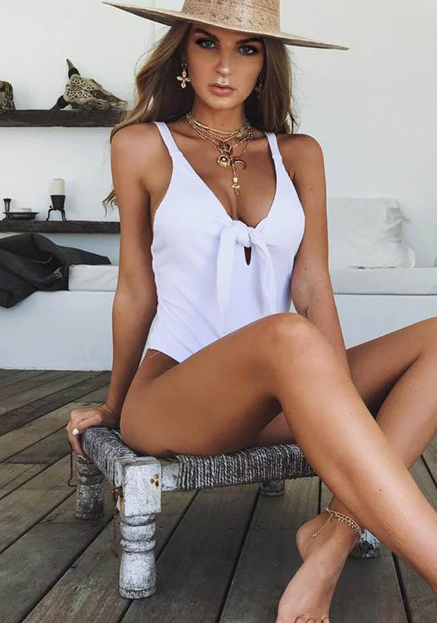 Sexy Tie Front Backless Jumpsuits Bodysuit | Edlpe