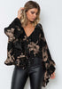 Image of Stylish Deep V Neck Ruffle Bell Sleeves Party Top | Edlpe