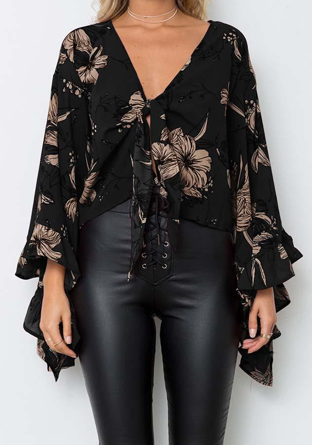 Stylish Deep V Neck Ruffle Bell Sleeves Party Top | Edlpe