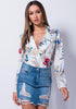 Image of Deep V Neck Long Sleeves Lapel Floral Bodysuit | Edlpe