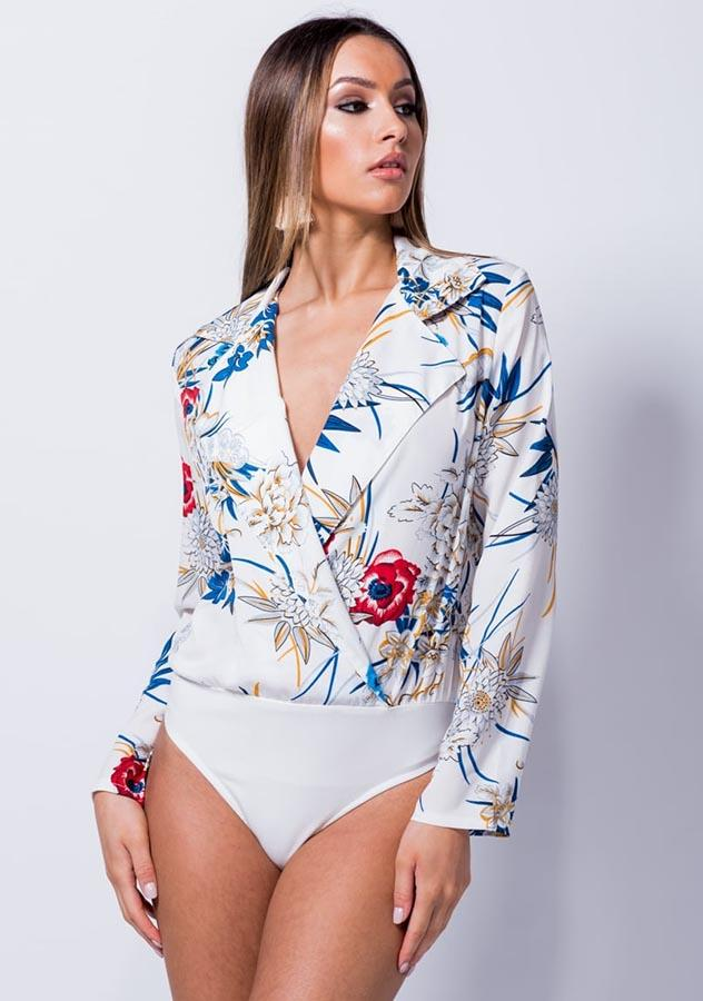 Deep V Neck Long Sleeves Lapel Floral Bodysuit | Edlpe