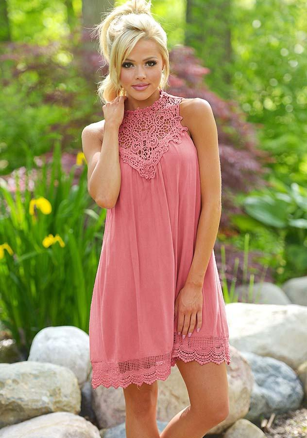Women Fashion Lace Sleeveless Holiday Dress | Edlpe