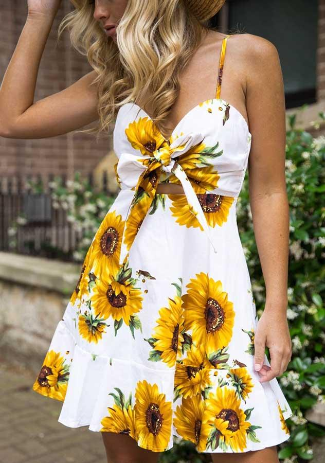 Vacation Sunflower Tie Front Strap A-Line Mini Dress | Edlpe