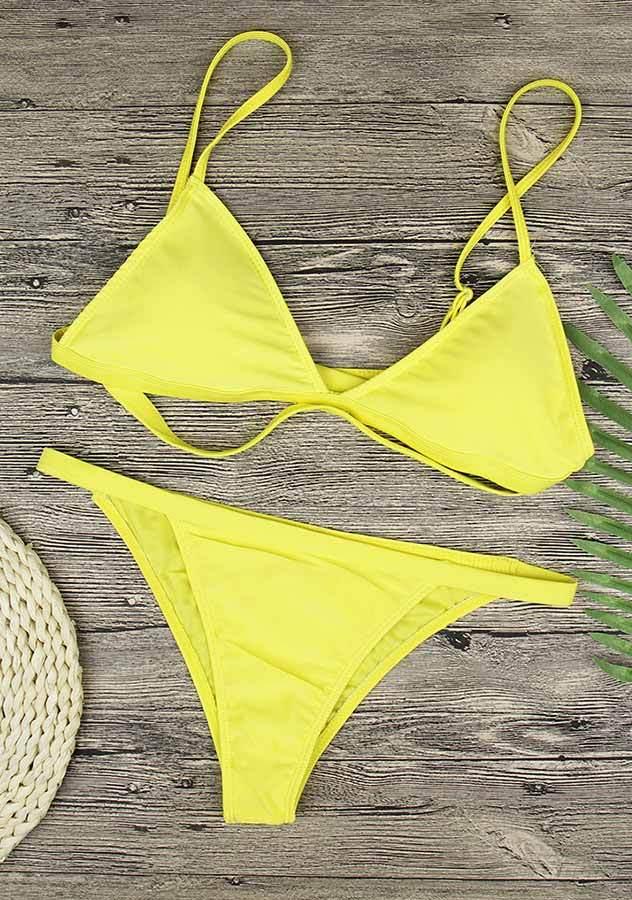 Lemon Yellow Bandage Triangle Two Pieces Bikini Set | Edlpe