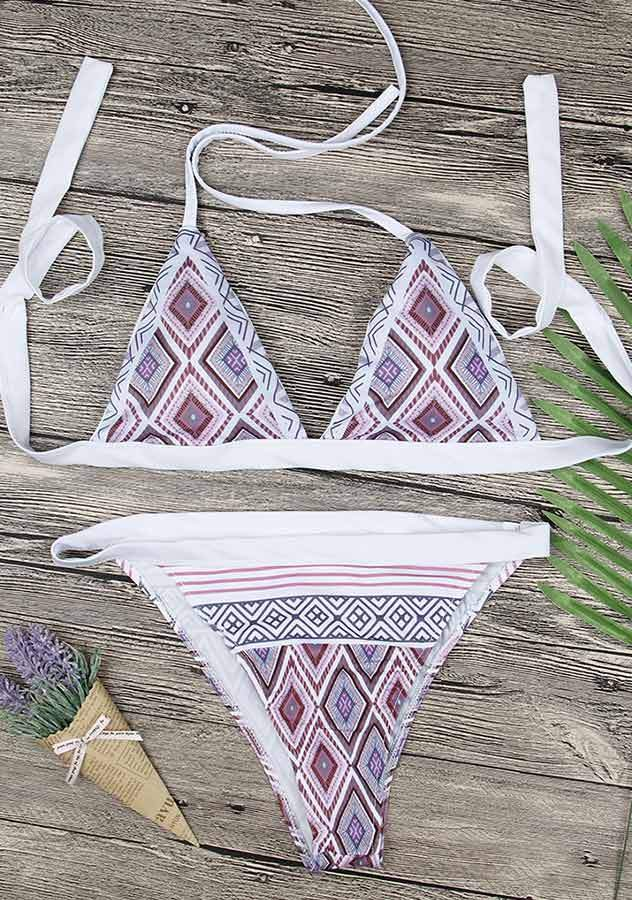 Purple Diamond Pattern Triangle Bikini Set | Edlpe
