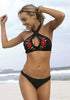 Image of Halter Neck Crossover Hollow Out Embroidery Bikini Set | Edlpe
