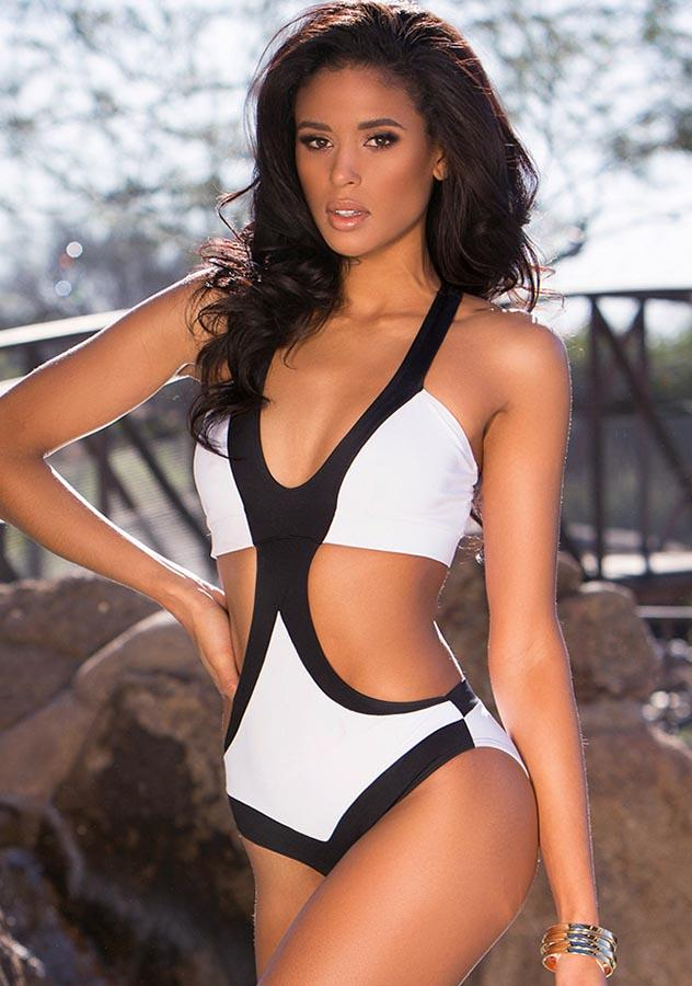 Black White Block Back Crossover One Piece Swimsuit | Edlpe