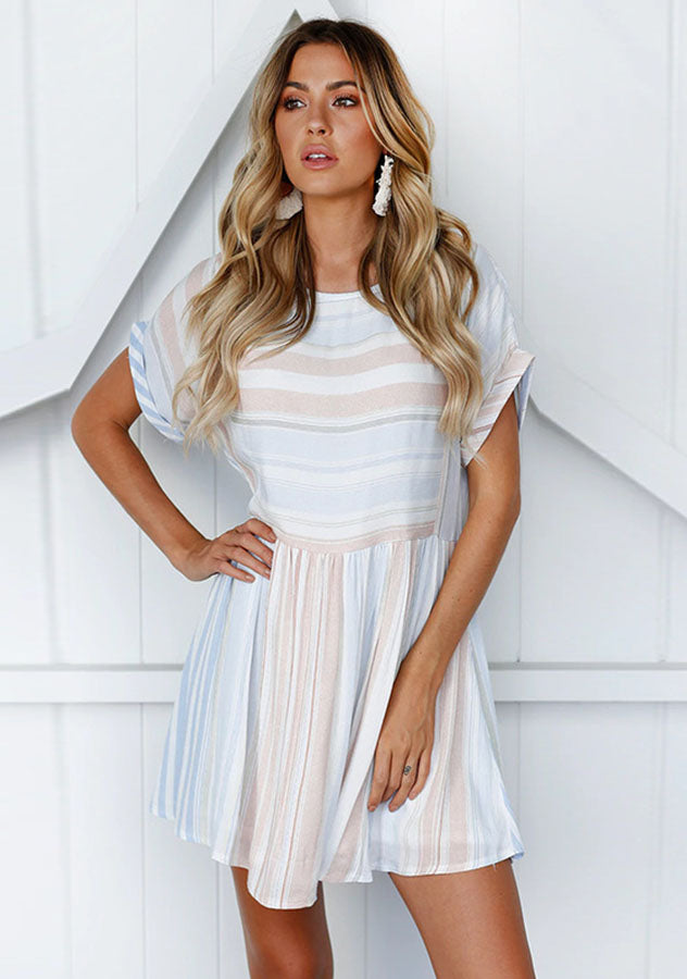 Casual All-Match Stripe Round Neck Swing Dress | Edlpe