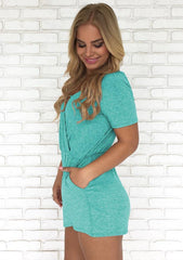 Daily V-Neck Short Sleeves Back Slit Romper