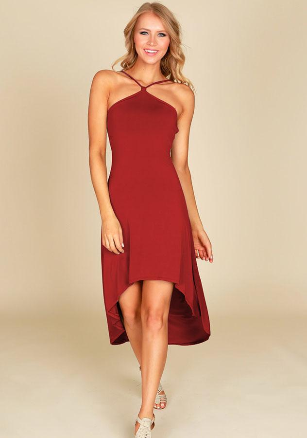 Elegant Halter Neck Backless High-Low Party Dress | Edlpe