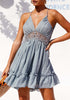 Image of Romantic Lace Stitching Sling Open Back Ruffle Hem Dress | Edlpe