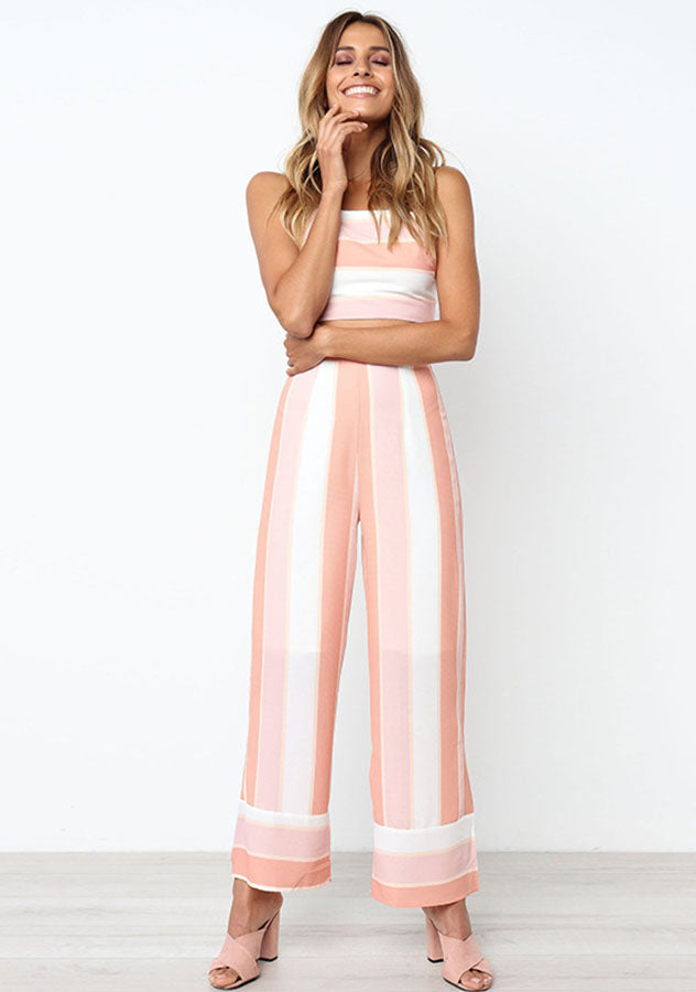Stripe Back-Tie Vest Wide Leg Pant Two Pieces Suit | Edlpe