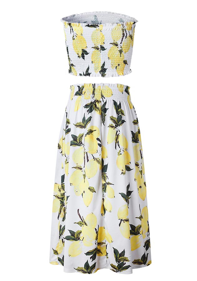 Holiday Two Pieces Floral Elastic Bandeau A-Line Midi Skirt Set | Edlpe