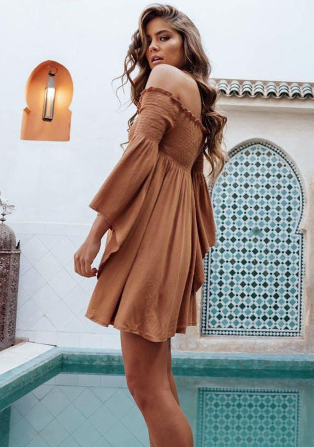 Off Shoulder Elastic Wide Sleeves High Waist Mini Dress | Edlpe