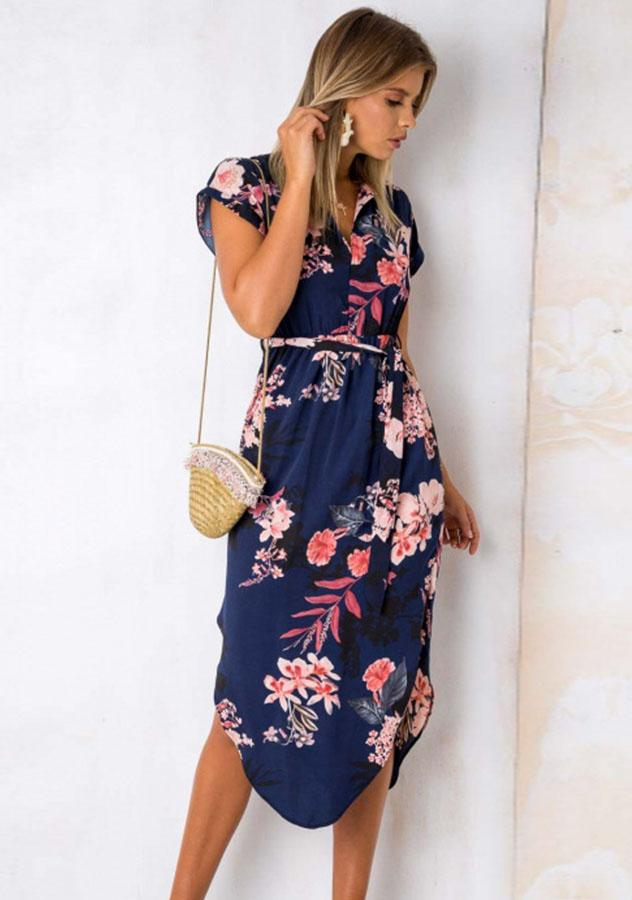 Casual V-Neck Side Slit Waist Tie Floral Loose Midi Dress | Edlpe