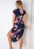 Image of Casual V-Neck Side Slit Waist Tie Floral Loose Midi Dress | Edlpe