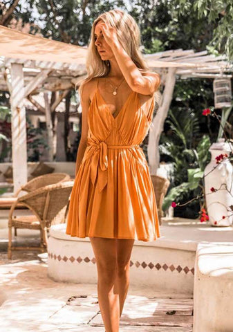 Sexy Deep V Sling Open Back Tie Waist A-Line Dress | Edlpe