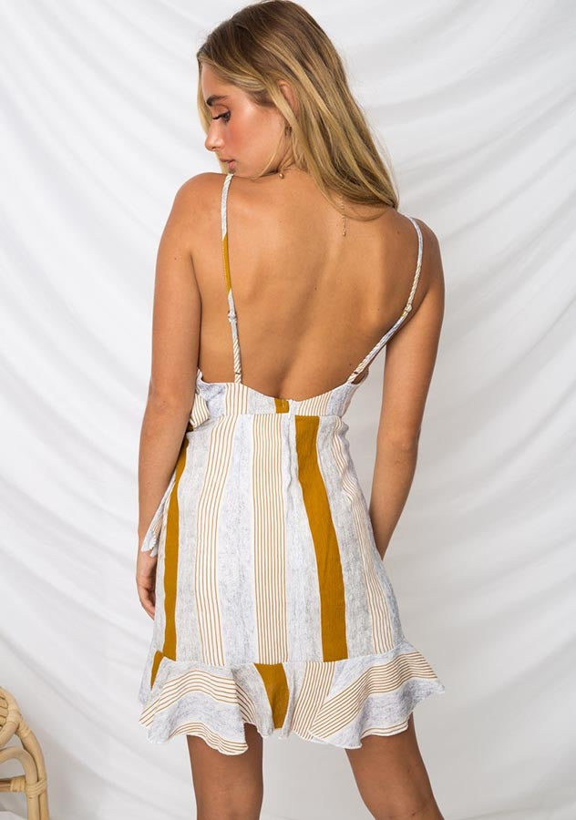 Sexy Deep Plunging Backless Waist Tie Mini Dress | Edlpe