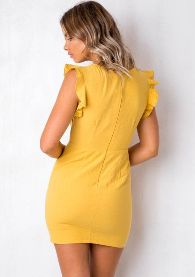 Charming Sleeveless Cut Out Tie Front Button Bodycon Dress | Edlpe