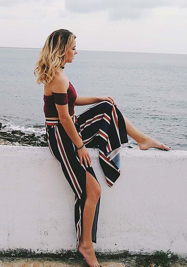 Women Blue Red Stripe Side Slit Wide Leg Pants | Edlpe