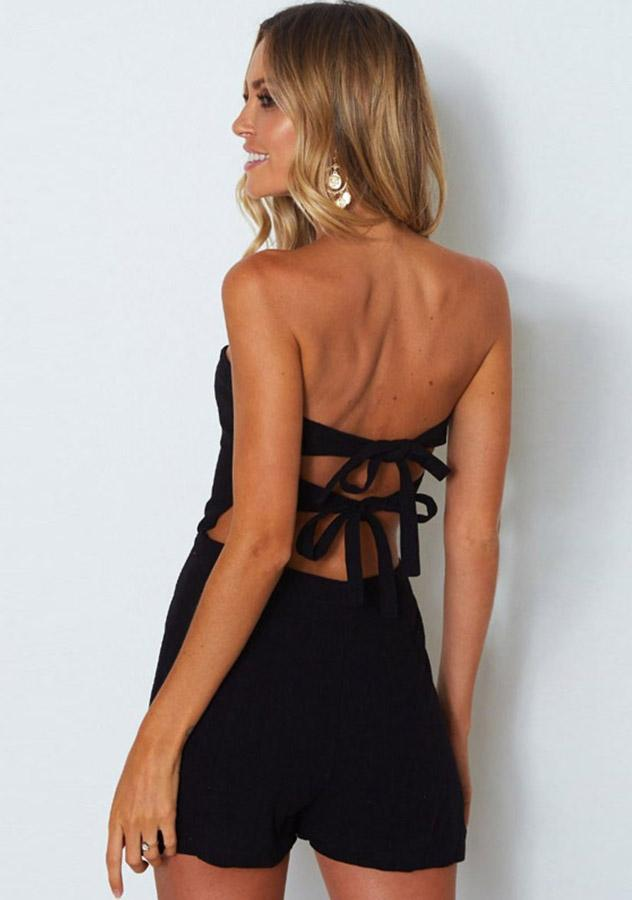 Sexy Monochrome Tie Back Strapless Holiday Romper | Edlpe