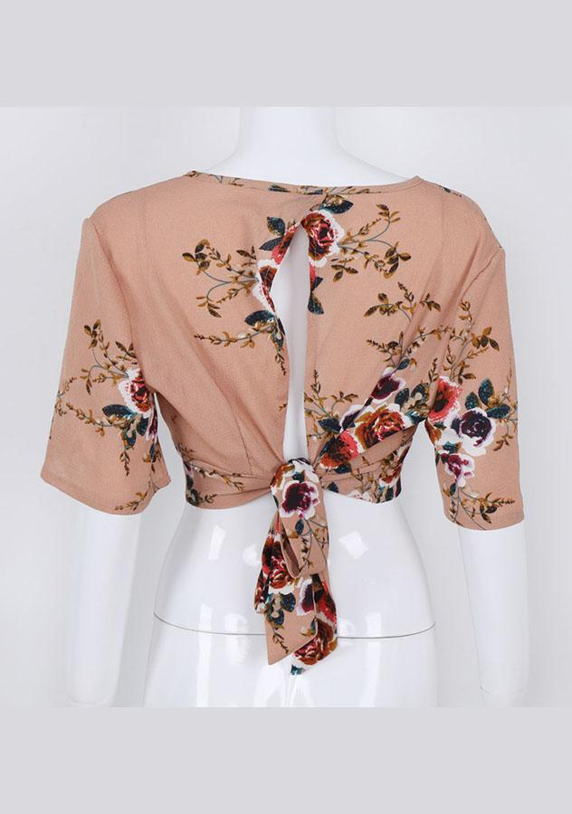 Retro Rose Pattern Half Sleeves Back Hollow Out Crop Top | Edlpe