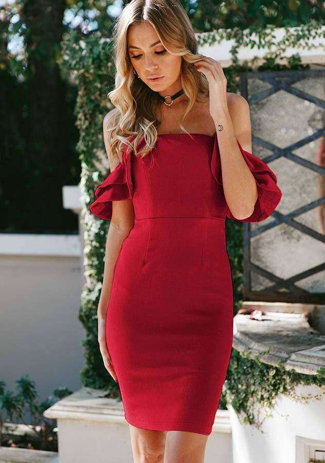 Elegant Off Shoulder Flounced Hip Package Bodycon Dress | Edlpe