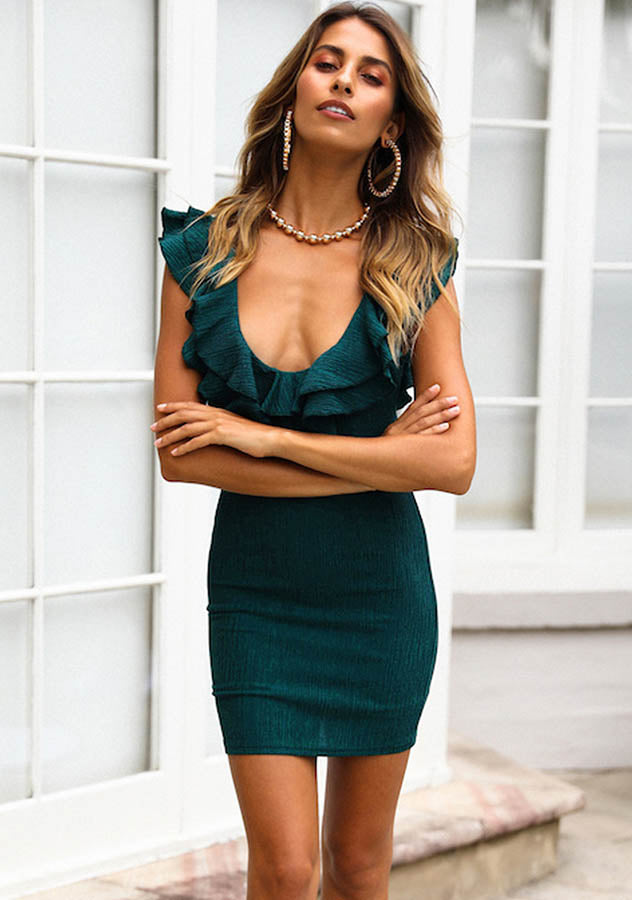 Party Pure Color Deep V Ruffle Trim Backless Mini Dress | Edlpe