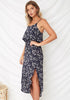 Image of Vacation Sling Floral Printed Side Slit Open Back Midi Dress | Edlpe