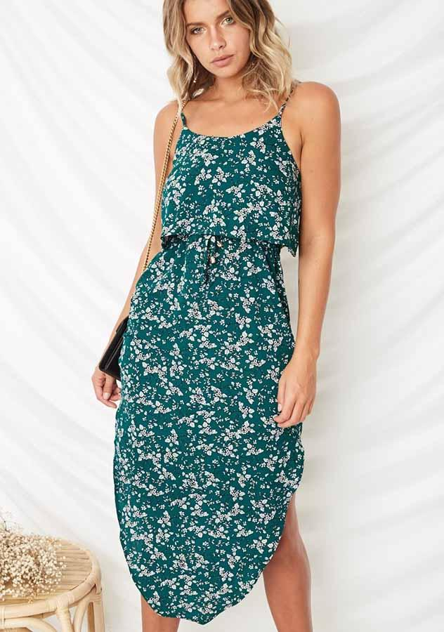 Vacation Sling Floral Printed Side Slit Open Back Midi Dress | Edlpe