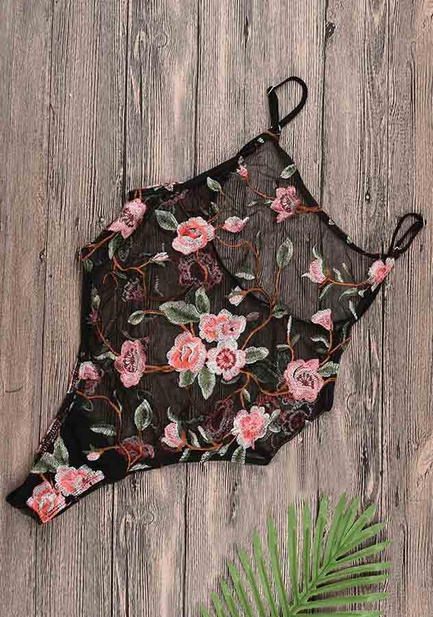 Black Rose Embroidery See Through High Thigh One Piece Swimwear | Edlpe
