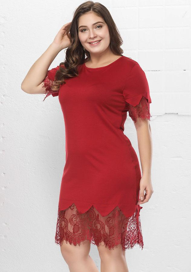 Red Lace Stitching Short Sleeves Scoop Neck Plus Size Dress | Edlpe