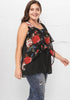 Image of Black Plus Size Rose Asymmetric Gauze Chiffon Vest Top | Edlpe