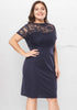 Image of Elegant Plus Size Lace Stitching Knee Length Open Back Slim Dress | Edlpe