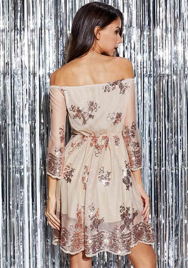 Trendy Romantic Off Shoulder Sequin Gauze Dress | Edlpe